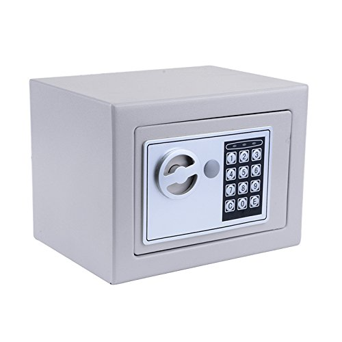 Homdox Elektronischer Safe Tresor Minisafe Minitresor Wandtresor Stahlsafe Möbeltresor Wandsafe mit digitalem Zahlenschloss 23 x 17 x 17 cm inkl. 4 Batterien und 2 Schlüssel (Silbergrau)